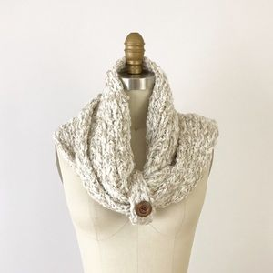 Cozy Wrapped Wood Button Infinity Scarf Fall M839